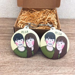 Customized portrait plastic key ring
