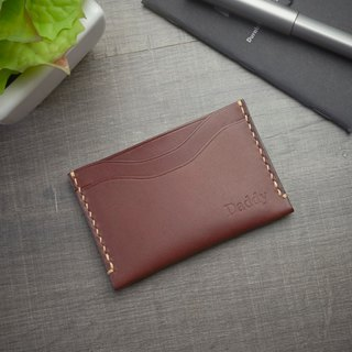 Brown Leather Card Sleeve - Handsewn- Pocket Sleeve - Card Sleeve - Card Holder