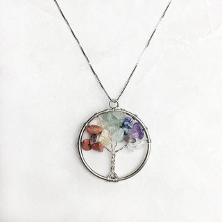 |Gemstone Necklace Series | Rainbow Crystal Lucky Tree (S925 Sterling Silver x Necklace x Clavicle Chain x Customized)