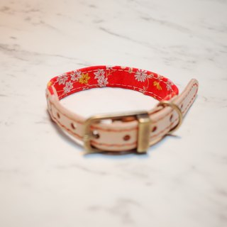 Dog collars, S size, Japan fabric, Red magpie_DCJ090420