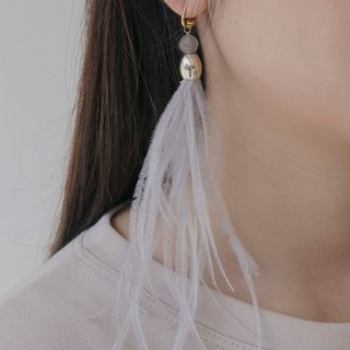 Grey Thin Feather Earrings (clip-on / piercing)