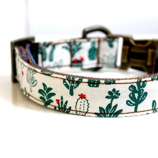 BOHO Cactus Denim Dog Collar - Antique Brass