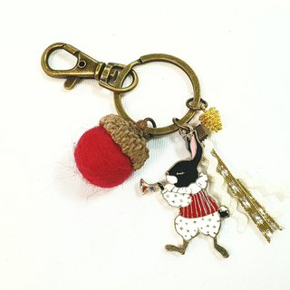 Paris*Le Bonheun. Happiness forest. The royal band rabbit. Wool felt acorn. Pine nuts key ring charm