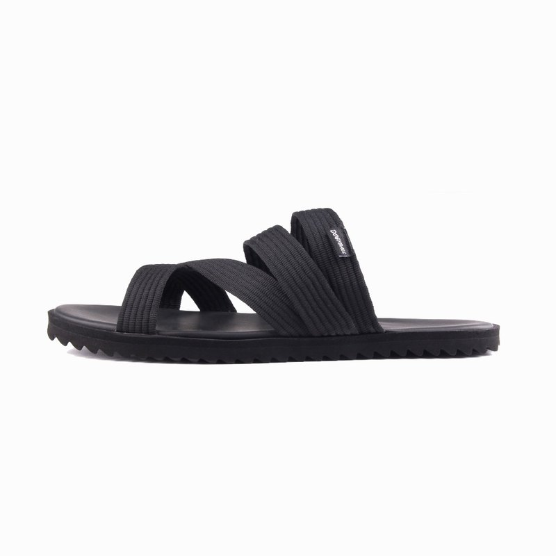 Carbon-reduction life|Simple and ultra-light handmade cotton webbing Roman sandals and slippers neutral waterproof and black ink