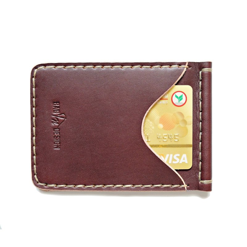 Wallet Money Clip Bi-fold Vegetable Rusty Red Hand-cut & Hand-sew process.