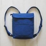 小號雙肩帆布後背包(拉鍊開口+磁扣袋蓋+外側拉鍊袋+前貼袋)-水洗藍 / 土耳其藍