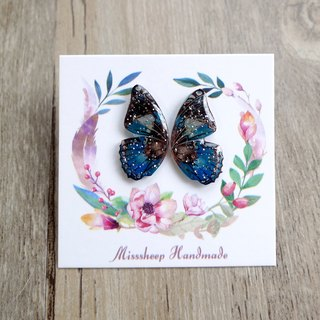 Misssheep- [BW13-pattern butterfly] hand-made earrings (ear needle / transparent ear clip) [a pair]