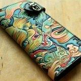 皮雕紋身圖案福獅繪唐獅長夾財布錢包