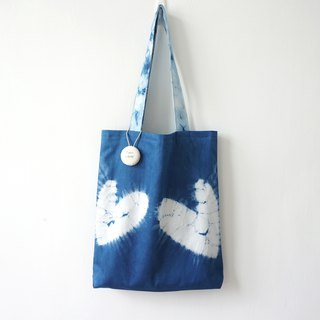 S.A x Finger Heart, Indigo dyed Handmade Abstract Pattern Tote Bag