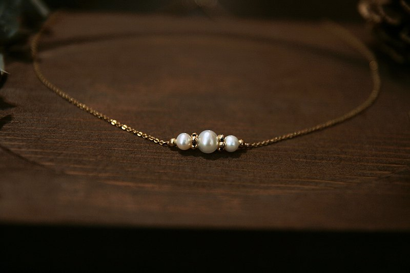 Vintage pearl necklace clavicle chain custom length fashion antique light jewelry ~ back then