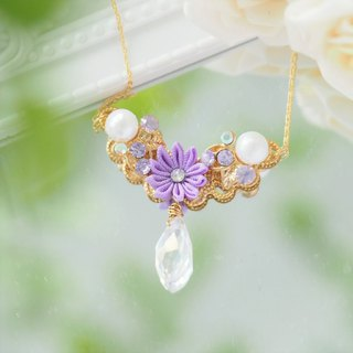 Elegant Purple Silk Flower and Tear drop crystal 16KGP Chain Necklace custom