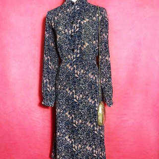 Flower Chiffon Long Sleeve Vintage Dress / Foreign Return to VINTAGE