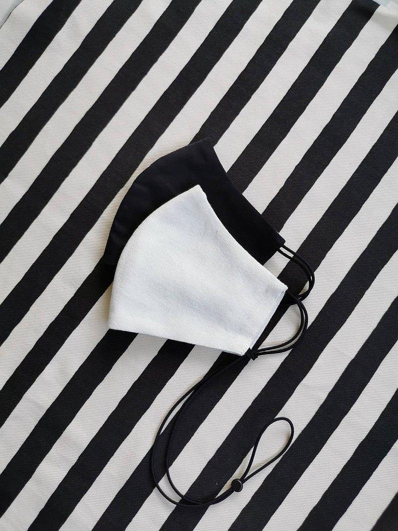 口罩,布,成人兒童,白色和黑色一套帶有可調節的頸帶