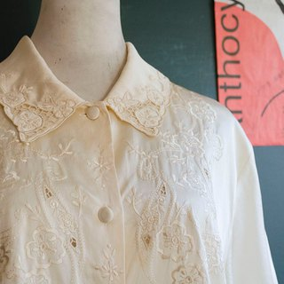 Wild rose, light goose, yellow European pattern, hand-embroidered silk, silky shirt | vintage