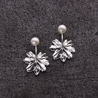 Vancouver Centennial Geranium Leaf 925 Sterling Silver Earrings Nature Plant