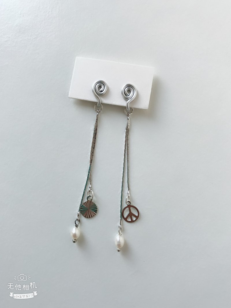 Painless aluminum wire ear clips - elegant long chain - two colors optional