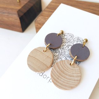 [endorphin] leather wooden simple earrings