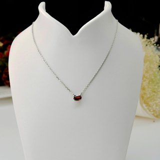 【Lalune】 intoxicating bright red garnet 925 sterling silver necklace
