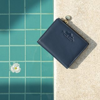 (LIMITED) PEONY - SMALL LEATHER SHORT WALLET WITH COIN PURSE- NAVY