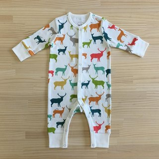 Love elk gujui (color) - organic cotton long-sleeved one-piece dress 6 ~ 12M