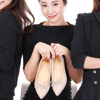 JACKIE; All-Day Pointed Ballet Flats, 100% Genuine Leather Nude Beige Cream