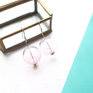 Pink bubbles-Brass earrings