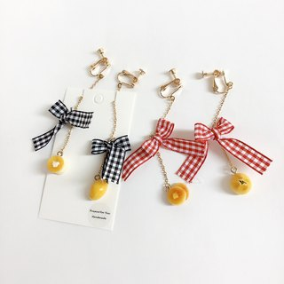 Japanese resin mini clay hand for optional butterfly bread earrings customized bowknot clip earrings