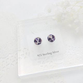 Glass-painted Sterling Silver earrings 8mm Mini size