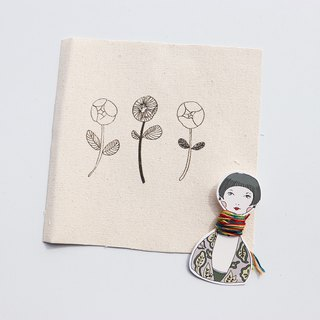 Three flower illustration embroidery material package