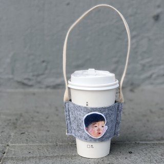 Customized children's hair / felt accompanying green cup set drink bag