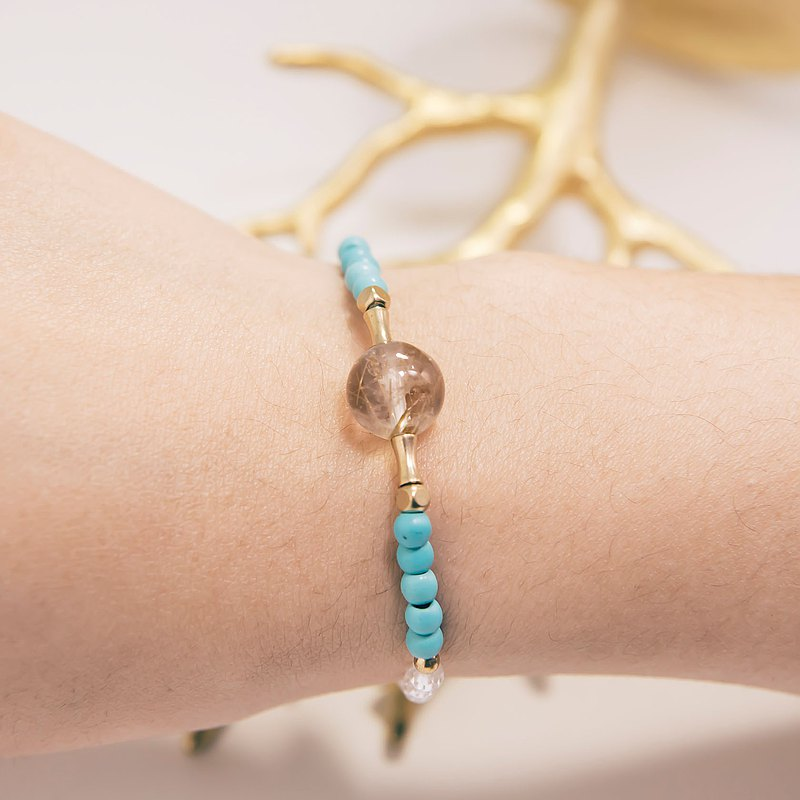 Wealth Bracelet Rutilated Quartz Xinjiang Turquoise Rock Quartz Aventurine