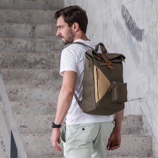 Water Resistant Fold top backpack in canvas and leather Army Green