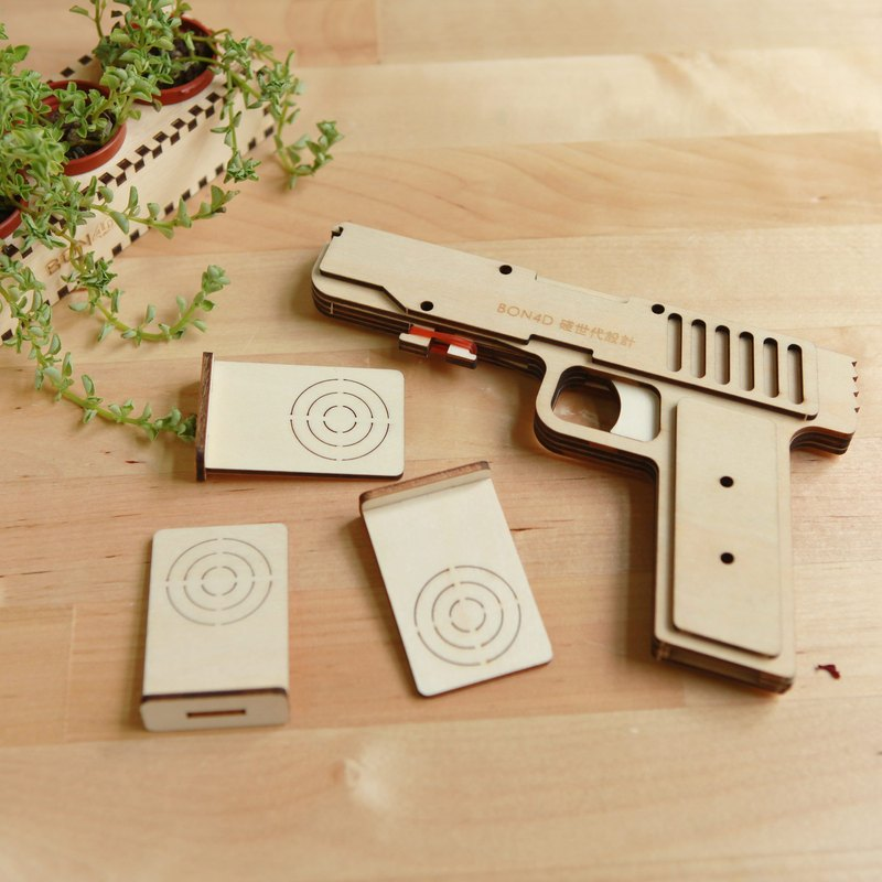 Four bursts of rubber band pistol / rubber band pistol / wooden toys / Christmas gifts / exchange gifts