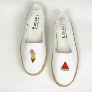 White cotton canvas hand made shoes summer cool watermelon. Ice cream has a weave