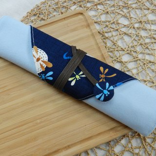 Blue Dragonfly Japan imported cotton cloth ~ environmental protection chopsticks set / cutlery bag (4 format)