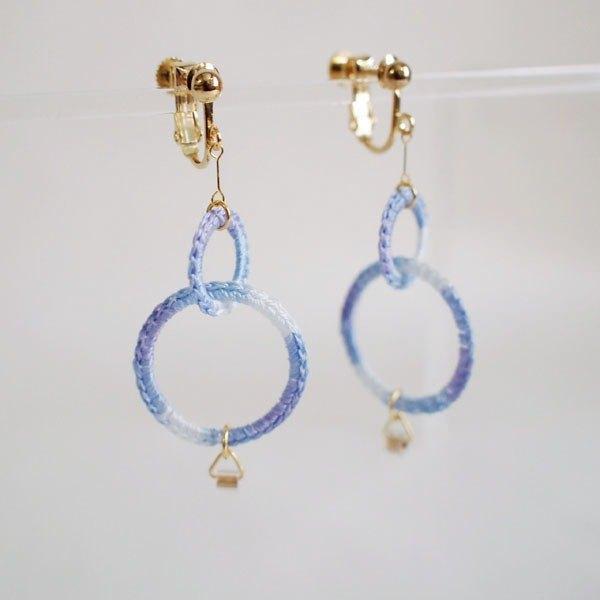 W Ring Earrings Light Blue Designer Atelier Milieux Pinkoi