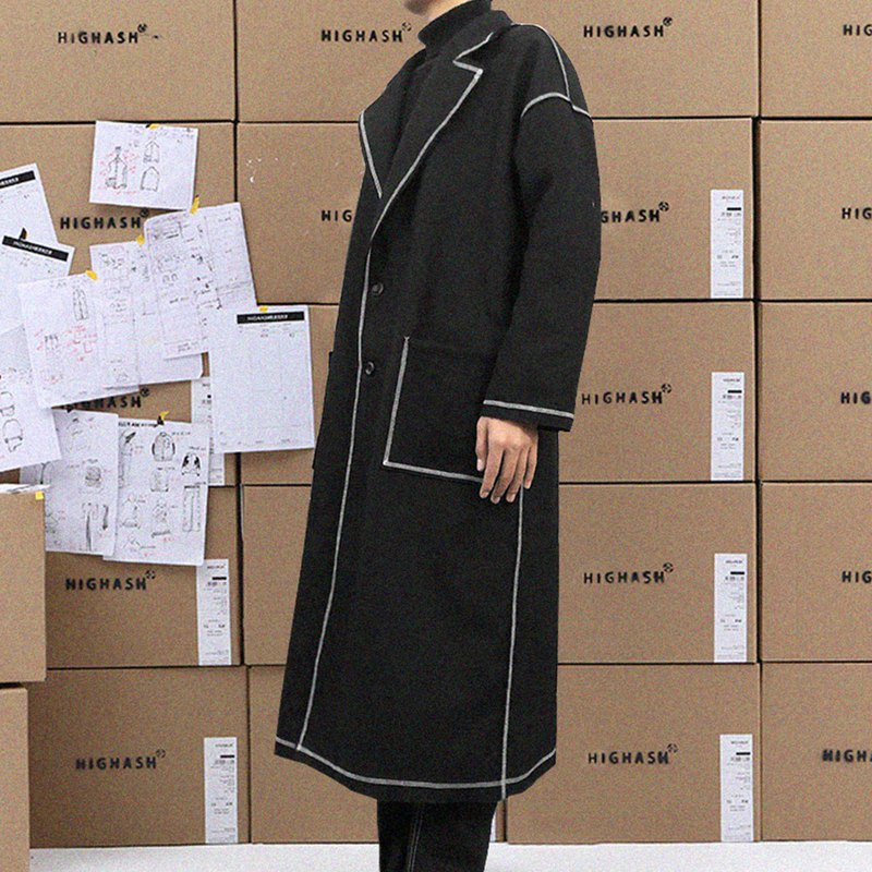 明線縫邊秋冬中長款雙面羊絨呢大衣外套