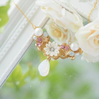 Elegant and Pure White Silk Flower, Crystal 16KGP Necklace Custom