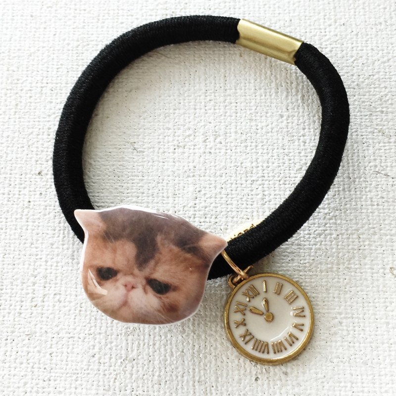 Exotic Cat Jojo with Clock Handmade 2 ways  Elastic  & Bracelet