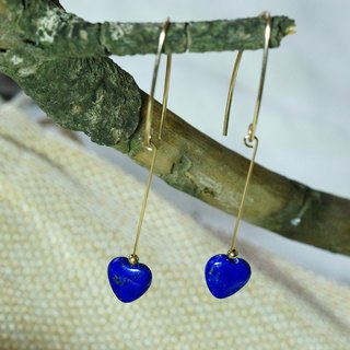 US 1/20 14K Gold Filled, Heart-shaped old mine Lapis earrings ( pc count )