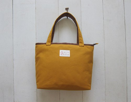 Macarons series - medium canvas tote bag (zipper open zipper bag) - yellow + brown coffee