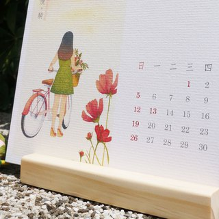 Slow living 2019 Calendar - desktop calendar with pine wood stand