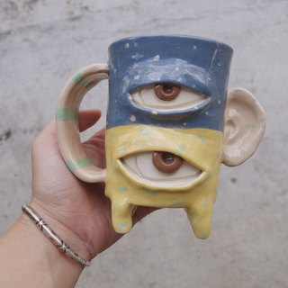 ceramic mug cup 2eyes monster in two tone pastel :)