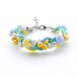 Mint / Yellow pastel braided bracelet with beads