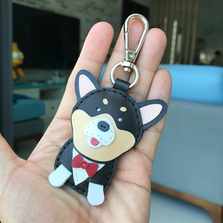 Handmade Leather Black Corgi Dog Handmade Leather Keychain Small Size
