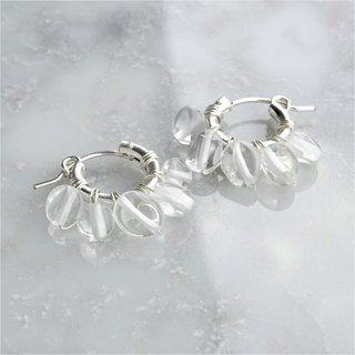 SV925SF*Crystal Quartz fringe wrapped pierced earring / earring