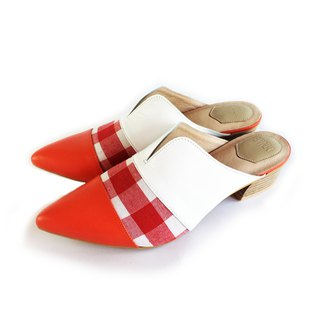 Classic Girl Series No 7.  Mule shoes Marble pattern fabric& leather