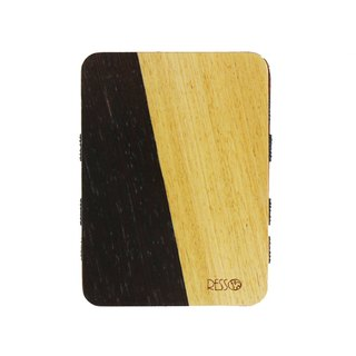 Resso Europe Handmade Wood Business Card Holder Spelling Wood Series - Black Wood Spelling Oak