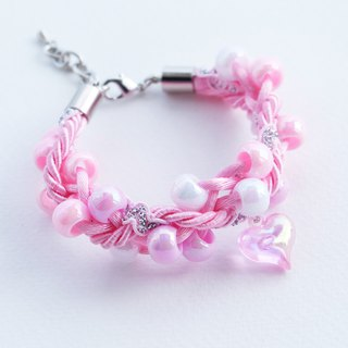 Pink beaded rope bracelet with pink heart charm
