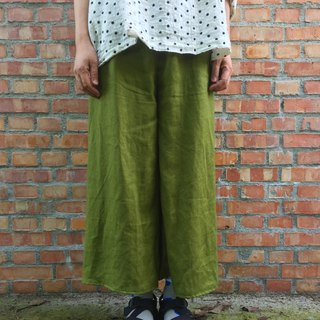 Pure linen Kyoto wiping brown simple eight or nine pants strict selection of 20 color linen